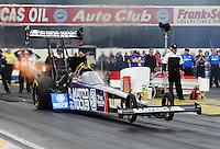 Feb. 12, 2012; Pomona, CA, USA; NHRA top fuel dragster driver Antron Brown during the Winternationals at Auto Club Raceway at Pomona. Mandatory Credit: Mark J. Rebilas-