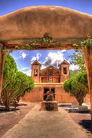 El Santuario de Chimayo church in Chimayo New Mexico on the High Road to Taos.