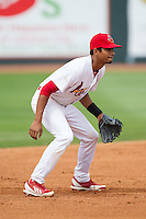 Johnson City Cardinals shortstop Oscar Mercado (4) on defense against the Elizabethton Twins at Cardinal Park on July 27, 2014 in Johnson City, Tennessee.  The game was suspended in the top of the 5th inning with the Twins leading the Cardinals 7-6.  (Brian Westerholt/Four Seam Images)