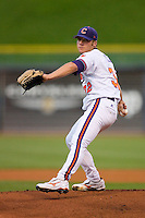 Starting pitcher Trey Delk #32 of the Clemson Tigers in action versus the Virginia Cavaliers at Durham Bulls Athletic Park May 21, 2009 in Durham, North Carolina.  (Photo by Brian Westerholt / Four Seam Images)