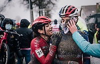 Helene Clauzel (FRA) hanging on to Marion Riberolle (FRA/Star Casino) post-finish<br /> <br /> UCI cyclo-cross World Cup Dendermonde 2020 (BEL)<br /> Women's Race<br /> <br /> ©kramon