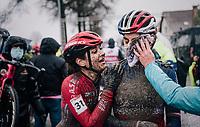 Helene Clauzel (FRA) hanging on to Marion Riberolle (FRA/Star Casino) post-finish<br /> <br /> UCI cyclo-cross World Cup Dendermonde 2020 (BEL)<br /> Women's Race<br /> <br /> ©kramon