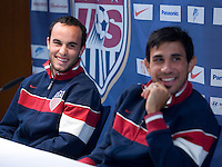 USA's Landon Donovan and Pablo Mastroeni, right, laugh during a news conference in Hamburg, Germany, for the 2006 World Cup, June, 8, 2006.