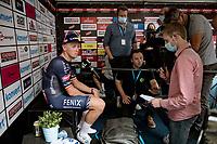 Fazed-off Tim Merlier (BEL/Alpecin-Fenix) while waiting to be interviewed post race<br /> <br /> Grote Prijs Marcel Kint 2021<br /> One day race from Zwevegem to Kortrijk (196km)<br /> <br /> ©kramon