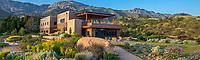 Conservation and Administration building, Santa Barbara Botanic Garden with Santa Ynez Mountains