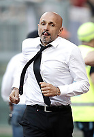 Calcio, Serie A: Roma, stadio Olimpico, 28 maggio 2017.<br /> AS Roma's coach Luciano Spalletti celebrates after Perotti's goal during the Italian Serie A football match between AS Roma and Genoa at Rome's Olympic stadium, May 28, 2017.<br /> Francesco Totti's final match with Roma after a 25-season career with his hometown club.<br /> UPDATE IMAGES PRESS/Isabella Bonotto