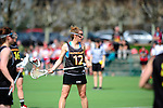 FRANKFURT AM MAIN, GERMANY - April 14: Eva Schulte #12 of Germany during the Deutschland Lacrosse International Tournament match between Germany vs Austria on April 14, 2013 in Frankfurt am Main, Germany. Germany won, 10-4. (Photo by Dirk Markgraf)