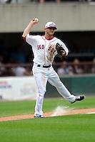 Pawtucket Red Sox third baseman Jonathan Diaz #2 during a game versus the Buffalo Bisons at McCoy Stadium in Pawtucket, Rhode Island on June 16, 2013.  (Ken Babbitt/Four Seam Images)