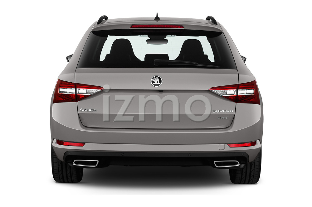 Straight rear view of 2019 Skoda Superb-Combi Sport-Line 5 Door Wagon Rear View  stock images