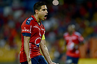 MEDELLÍN -COLOMBIA-23-04-2017: Mauricio Molina jugador del Medellín celebra después de anotar un gol al Tolima durante el encuentro entre Independiente Medellín y Deportes Tolima por la fecha 14 de la Liga Águila I 2017 jugado en el estadio Atanasio Girardot de la ciudad de Medellín. / Mauricio Molina player of Medellin celebrates after scoring a goal to Tolima during match between Independiente Medellin and Deportes Tolima for date 14 of the Aguila League I 2017 at Atanasio Girardot stadium in Medellin city. Photo: VizzorImage/ León Monsalve / Cont
