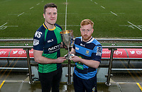 Monday 24th February 2020 | Deep River Rock Ulster Towns Cup Semi-Final Draw<br /> <br /> Pictured with the Deep River Rock Ulster Towns Cup is Ballynahinch RFC 2s captain Eamon McAnulty and Dromore RFC captain Lee Steenson. Photo by John Dickson / DICKSONDIGITAL