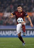 Calcio, Champions League, Gruppo E: Roma vs Bayer Leverkusen. Roma, stadio Olimpico, 4 novembre 2015.<br /> Roma's Juan Iturbe controls the ball during a Champions League, Group E football match between Roma and Bayer Leverkusen, at Rome's Olympic stadium, 4 November 2015.<br /> UPDATE IMAGES PRESS/Isabella Bonotto