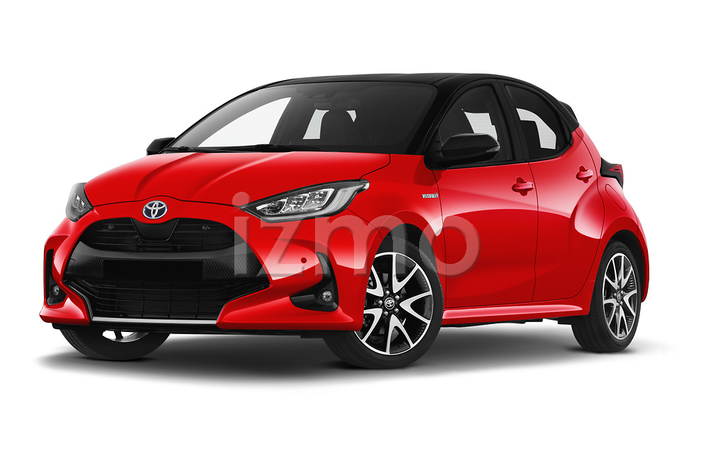 Stock pictures of low aggressive front three quarter view of 2020 Toyota Yaris Premier 5 Door Hatchback Low Aggressive
