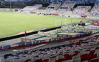 BARRANQUILLA-COLOMBIA, 20-09-2020: Protocolos de bioseguridad previo al partido entre Atletico Junior y Rionegro Aguilas Doradas, de la fecha 9 por la Liga BetPlay DIMAYOR I 2020 jugado en el estadio Romelio Martinez de la ciudad de Barranquilla. / Biosafety protocols prior a match between Atletico Junior and Rionegro Aguilas Doradas for the 9th date for the BetPlay DIMAYOR I 2020 played at the Romelio Martinez Stadium in Barranquilla city. / Photo: VizzorImage / Jairo Cassiani / Cont.