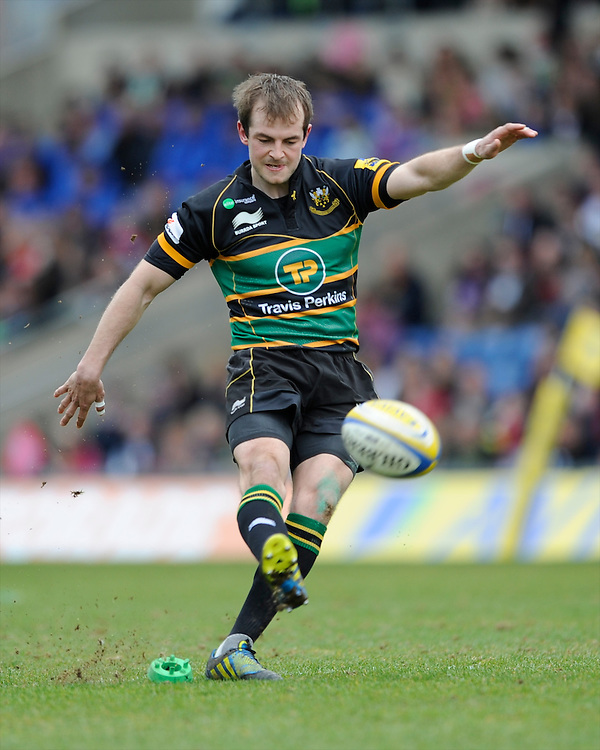 Stephen Myler of Northampton Saints takes penalty kick during the Aviva Premiership match between London Welsh and Northampton Saints at the Kassam Stadium on Sunday 14th April 2013 (Photo by Rob Munro)