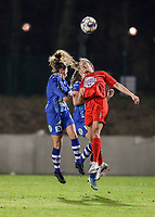 Emma Van Britsom (6) of AA Gent and Kenza Vrithof (9) of Woluwe in action during a female soccer game between FC Femina White Star Woluwe and AA Gent Ladies on the 13 th matchday of the 2020 - 2021 season of Belgian Scooore Womens Super League , friday 5 th of February 2021  in Woluwe , Belgium . PHOTO SPORTPIX.BE | SPP | SEVIL OKTEM