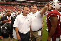 Aug 18, 2007; Glendale, AZ, USA; Houston Texans head coach Gary Kubiak following the game against the Arizona Cardinals at University of Phoenix Stadium. Mandatory Credit: Mark J. Rebilas-US PRESSWIRE Copyright © 2007 Mark J. Rebilas