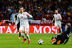 Nicolas Tagliafico of Argentina (R) trips up with Lucas Vazquez of Spain (L) during the International Friendly 2018 match between Spain and Argentina at Wanda Metropolitano Stadium on 27 March 2018 in Madrid, Spain. Photo by Diego Souto / Power Sport Images