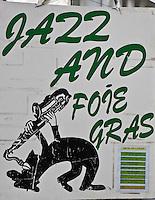 Europe/France/Midi-Pyrénées/32/Gers/Marciac:  le village pendant le Festival de jazz - Enseigne d'un restaurant