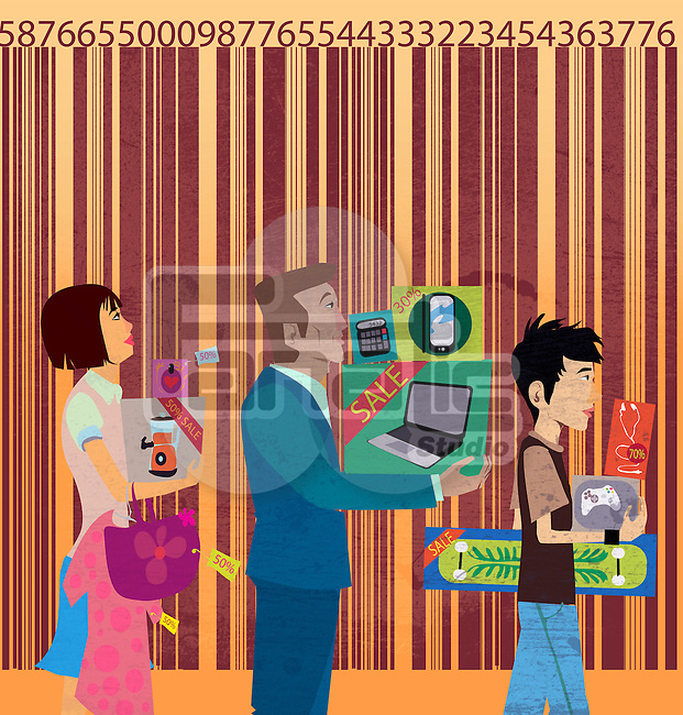 Three people with shopping items