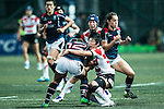 Yuki Sue of Japan (r) competes against Natasha Shangwe Olson-Thorne of Hong Kong (l) during the Womens Rugby World Cup 2017 Qualifier match between Hong Kong and Japan on December 17, 2016 in Hong Kong, Hong Kong. Photo by Marcio Rodrigo Machado / Power Sport Images