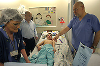 Dr Leon Kaplan, an Israeli doctor from Hadassah hospital checks the back of Nadim Abu Nazrah, 14, an Arab Israeli from Nazarath before surgery . Nadim suffers from a malformation in his spin cord and. Dr Kaplan is consider one of the best specialists in back surgeries in the Middle East. Photo by Quique Kierszenbaum.