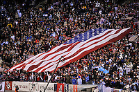 United States supports unfurl a giant US flag. The United States (USA) and Argentina (ARG) played to a 1-1 tie during an international friendly at the New Meadowlands Stadium in East Rutherford, NJ, on March 26, 2011.