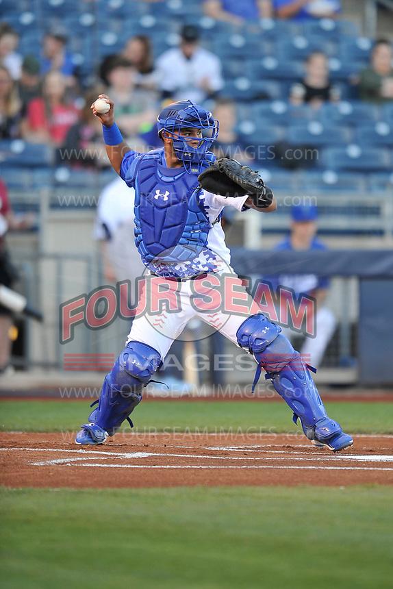 Tulsa Drillers catcher Keibert Ruiz (25) in action against the Corpus Christi Hooks at Oneok Stadium on May 4, 2019 in Tulsa, Oklahoma.  The Hooks won 9-7.  (Dennis Hubbard/Four Seam Images)