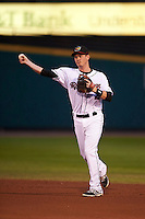Rochester Red Wings second baseman James Beresford (2) throws to first during a game against the Lehigh Valley IronPigs on May 15, 2015 at Frontier Field in Rochester, New York.  Rochester defeated Lehigh Valley 5-4.  (Mike Janes/Four Seam Images)