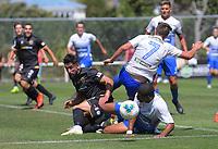 Action from the ISPS Handa Premiership football match between Team Wellington and Tasman United at David Farrington Park in Wellington, New Zealand on Sunday, 9 February 2020. Photo: Dave Lintott / lintottphoto.co.nz