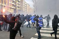 - Milano, manifestazione dei Centri Sociali  nel decennale dell'uccisione del giovane Dax da parte di alcuni fascisti; scontri con la polizia<br /> <br /> - Milan, demonstration of social centers for the tenth anniversary of the killing of young Dax by some fascists; clashes with police