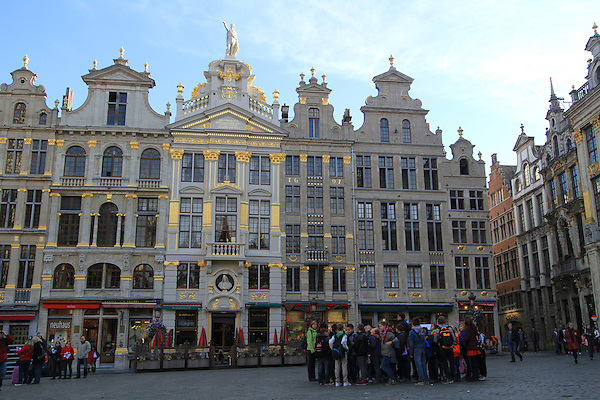 School group in the Grand Place, (town square), Brussels, Belgium.