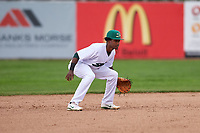 Beloit Snappers shortstop Marcos Brito (6) during a Midwest League game against the Lake County Captains at Pohlman Field on May 6, 2019 in Beloit, Wisconsin. Lake County defeated Beloit 9-1. (Zachary Lucy/Four Seam Images)