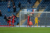 BLACKBURN, ENGLAND - JANUARY 24:   Lukasz Fabianski of Swansea City screams  after conceding a goal  during the FA Cup Fourth Round match between Blackburn Rovers and Swansea City at Ewood park on January 24, 2015 in Blackburn, England.  (Photo by Athena Pictures/Getty Images)