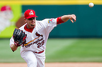 Ryan Kulik (28) of the Springfield Cardinals throws a pitch during a game against the Midland RockHounds on April 19, 2011 at Hammons Field in Springfield, Missouri.  Photo By David Welker/Four Seam Images