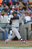 Miguel Gomez (2) of the Salem-Keizer Volcanoes bats during a game against the Hillsboro Hops at Ron Tonkin Field on July 27, 2015 in Hillsboro, Oregon. Hillsboro defeated Salem-Keizer, 9-2. (Larry Goren/Four Seam Images)