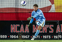 COLLEGE PARK, MD - SEPTEMBER 3: Maryland University goalkeeper Jamie Lowell (1) clears upfield during a game between George Mason University and University of Maryland at Ludwig Field on September 3, 2021 in College Park, Maryland.