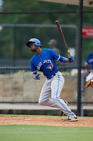 GCL Blue Jays right fielder Aldo Ovando (22) follows through on a swing during a game against the GCL Phillies East on August 10, 2018 at Carpenter Complex in Clearwater, Florida.  GCL Blue Jays defeated GCL Phillies East 8-3.  (Mike Janes/Four Seam Images)
