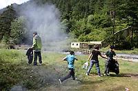 Tibetans in the Jiuzhaigou National Park. Sichuan Province. China.