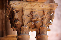 Decorated medieval historicated column capitals in the clositers of Monreale Cathedral - Palermo - Sicily Pictures, photos, images & fotos photography