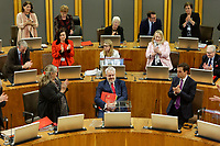 Pictured: Tuesday 11 December 2018<br /> Re: First Minister for Wales Carwyn Jones during his last First Minister Questions at the Senedd in Cardiff Bay, Wales, UK. He will be succeeded by Assembly Member Mark Drakeford.
