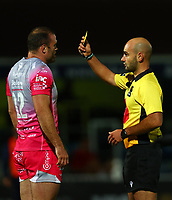 2nd October 2020; RDS Arena, Dublin, Leinster, Ireland; Guinness Pro 14 Rugby, Leinster versus Dragons; Jamie Roberts (Dragons) shown a yellow card by Referee Andrea Piardi (FIR)