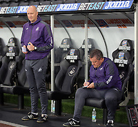Pictured: (L-R) Swansea City coaches Cameron Toshack  and Gary Richards Monday 15 May 2017<br />Re: Premier League Cup Final, Swansea City FC U23 v Reading U23 at the Liberty Stadium, Wales, UK