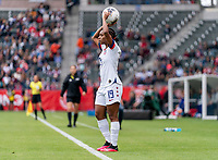 CARSON, CA - FEBRUARY 9: Crystal Dunn #19 of the United States throws the ball in during a game between Canada and USWNT at Dignity Health Sports Park on February 9, 2020 in Carson, California.