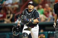 Erie Seawolves catcher Luis Alberto Sanz #49 looks for a pop up in foul territory during an Eastern League game against the Altoona Curve at Jerry Uht Park on August 31, 2012 in Erie, Pennsylvania.  Altoona defeated Erie 4-3.  (Mike Janes/Four Seam Images)