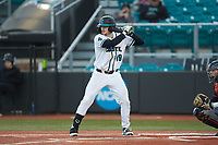 Fox Leum (19) of the Coastal Carolina Chanticleers at bat against the Illinois Fighting Illini at Springs Brooks Stadium on February 22, 2020 in Conway, South Carolina. The Fighting Illini defeated the Chanticleers 5-2. (Brian Westerholt/Four Seam Images)