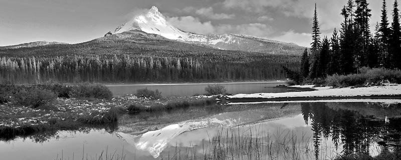 Mount Washington reflection in Big Lake. Oregon.