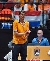 The Netherlands, Den Bosch, 16.04.2014. Fed Cup Netherlands-Japan, Dutch bench with captain Paul Haarhuis<br /> Photo:Tennisimages/Henk Koster