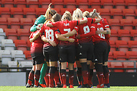 Players' huddle during the English Womens Championship match between Manchester United Women and Leicester City Women at Leigh Sports Village, Leigh, England on 10 March 2019. Photo by James Gill / PRiME Media Images.