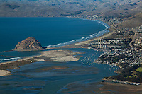 aerial photograph of Morro Bay and Morro Rock with Cayucos in the background, San Luis Obispo County, California